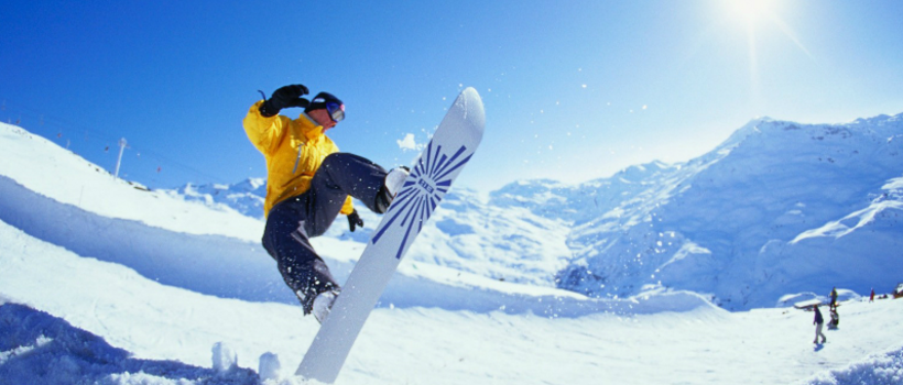 Snowboarding with English Bridge
